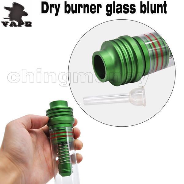 Высочайшее качество курительные трубки сухая трава испаритель трубка с металлическим мундштуком пластиковая трубка закрученное стекло тупой для сухой горелки DHL бесплатно