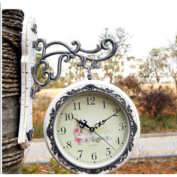 Vintage de doble cara Mecanismo de reloj de pared Relojes de pared grande Digital Stash escondido Relogio Parede Shabby Chic Home Decor 50ZB293
