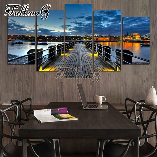 wholesale 5 piece diy diamond painting harbour pier night scenery full square/round drill 5d embroidery multi-picture art FC663