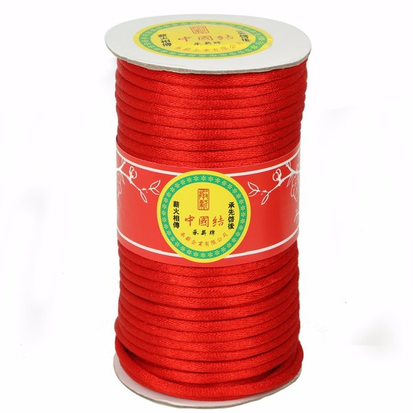 Red 5/7mm 43/22yards Chinese Knot Cord Beading String Cord For Handicraft Jewelry Craft Making Bracelet Braided Accessory
