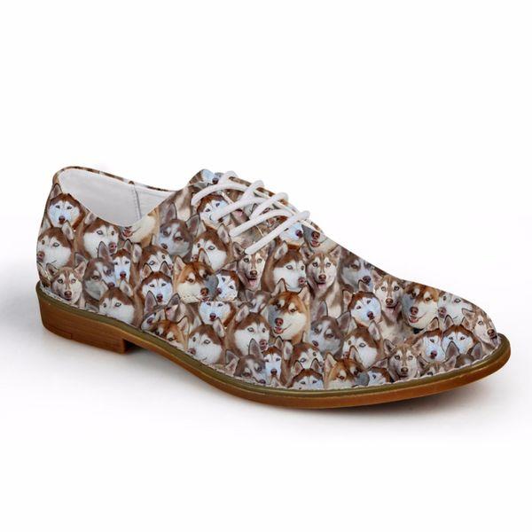 Maßgeschneiderte Frühling Männer Oxfords Schuhe Niedlichen Tier Husky Mops Hund Gedruckt Herrenmode Wohnungen Oxford Schuhe Mann Casual Dress