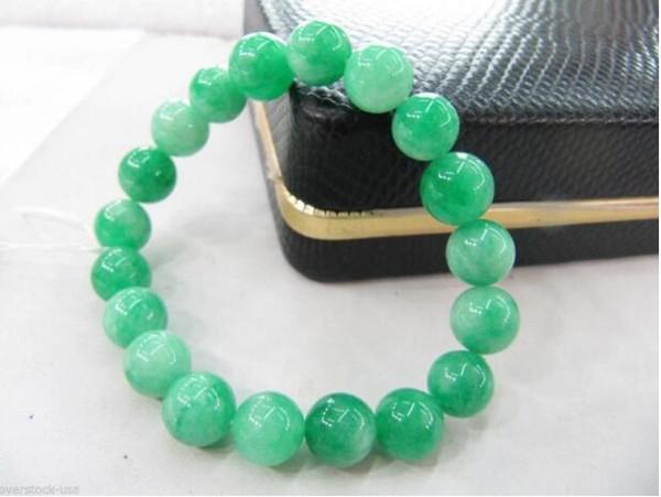 Jewelryr Jade Браслет BLESSING Китайский Зеленый Нефрит 10 мм Бисер Эластичный Браслет Бесплатная Доставка