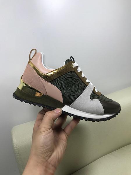 2019 heißer Luxus Beliebte Leder Freizeitschuhe Frauen Männer Designer Turnschuhe Schuhe Mode Leder Schnürschuh Mischfarbe Mit wei