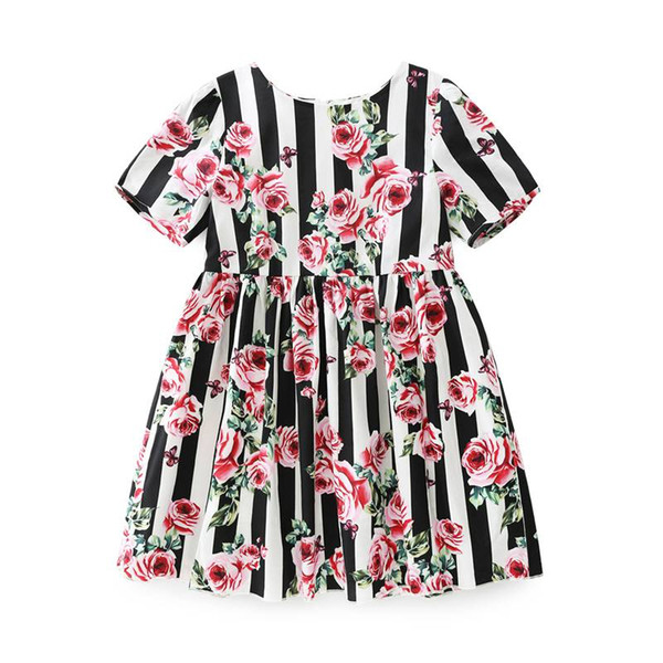 Childrens Black Striped And Rose Princess Dresses 2019 Kids Party Clothes Baby Girls Evening Dress Toddler Wedding Dress