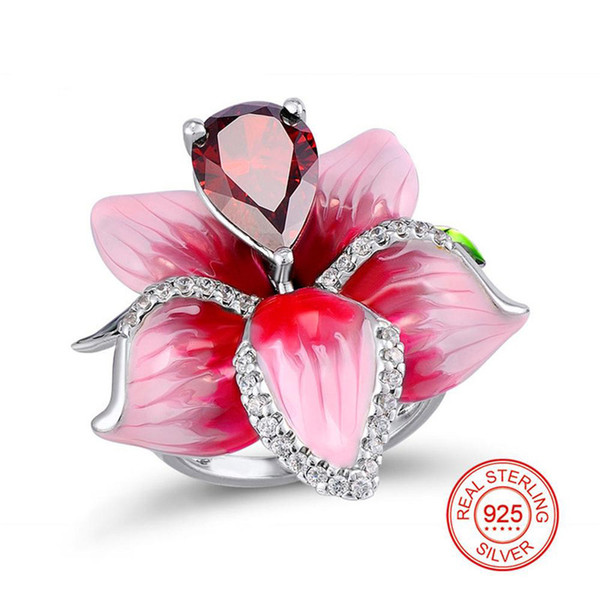 Anelli in argento sterling 925 grande fiore smalto rosa e goccia acqua forma coppie di pietre rosse anello per gioielli donna Y19051002