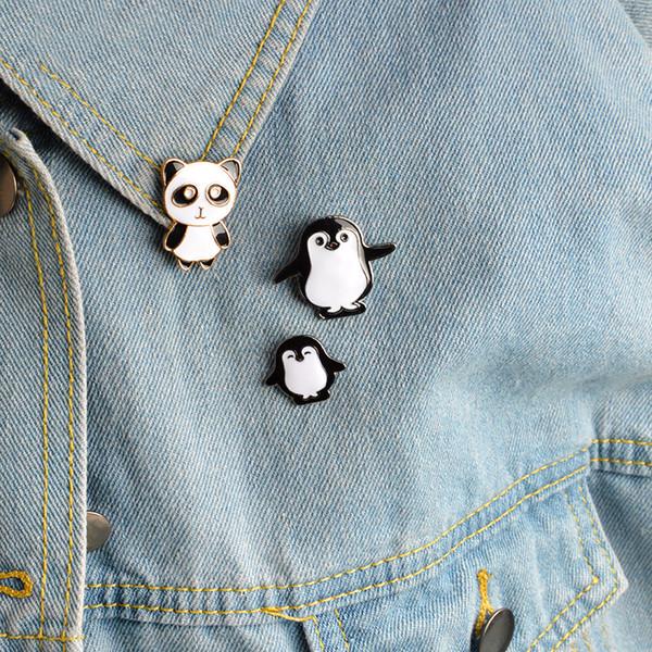 Kawaii mignon Cartoon animal Penguin Panda Métal Émail Pin Badge Boutons Broche Chemise Veste en jean Sac décoratifs pour les filles Brooches femmes