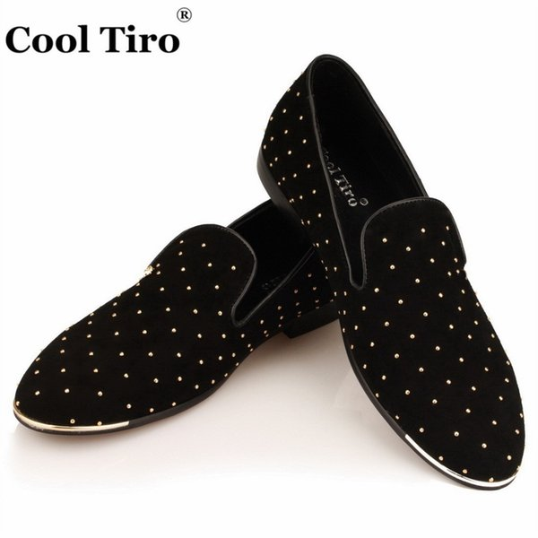 COOL TIRO Gold Spikes Studs Loafers Men Moccasins handsome Smoking Slippers Flats Wedding Black Suede Men's Dress Shoes Casual #260036