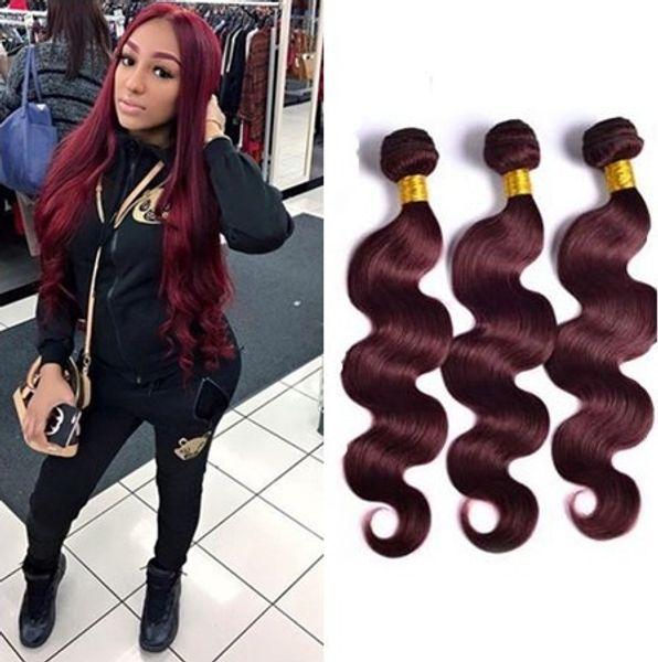 Brazilian 99J Hair Body Wave 3 Bundles Unprocessed Grade 8A Burgundy Wine Red Human Hair Weaves Extensions Length 10-24Inch