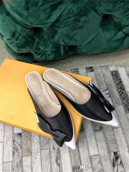 New spring 2019 Double color stitching Pointed Half drag series for Women,Size 35-40 Heel-height 3 cm