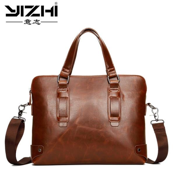 Brand Crazy horse pu leather men bags vintage business leather briefcase men's Briefcase men travel bags tote laptop bag man bag #200919