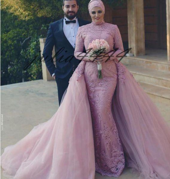 2019 Muslim Modest Wedding Dresses With Detachable Train Bridal Gowns Lace Long Sleeve Beach Wedding Dress robe de mariée