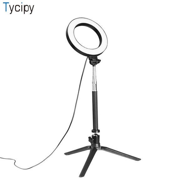 Tycipy Ring Light Fotografía LED Selfie Light Cámara de fotos Mesa de video Mini lámpara con trípode Cable de alimentación USB para maquillaje