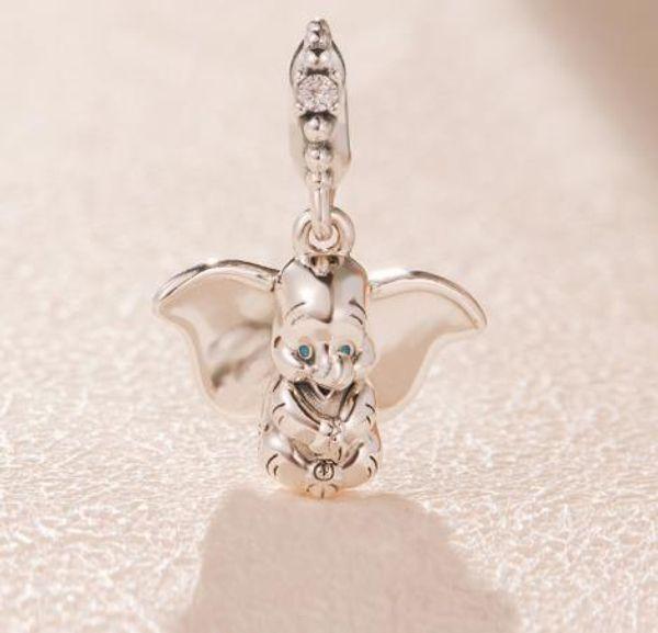 3pcs / lot 2019 New 925 Sterling Silver elefante dos desenhos animados originais pingente DIY moda jóias Adequado para Estilo Braceletes