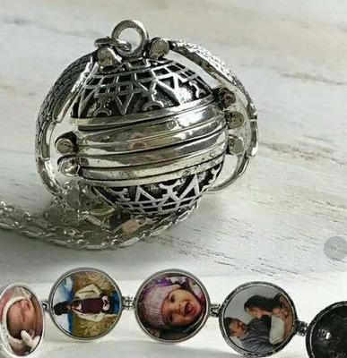 Magic Photo Pendant Memory Floating Locket Necklace Plated Angel Wings Flash Box Fashion Album Box Necklaces for Women D0411