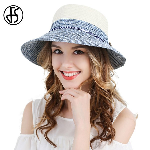 wholesale Ladies Wide Brim Foldable Sun Hat Womens Fashion Visor Blue Green Beach Straw Hats Ribbon Summer Floppy Uv Protect Cloche Cap