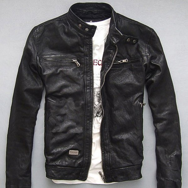 Drop Shipping Men Leather Jacket Genuine Real Sheep Goat skin Brand Black Male Bomber Motorcycle Biker Man's Coat Autumn Spring
