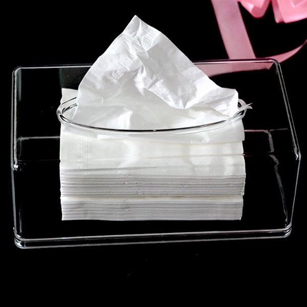 Transparent rectangular tissue storage box Acrylic transparent plastic tray car KTV Hotel rectangular tissue storage box