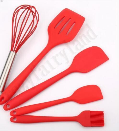 Kitchen Tools Bakeware Set Silicone Utensils 1 Brush+1 Egg beater + 2 Spatulas +1 Drain Shovel Kitchen Cooking Baking Accessories