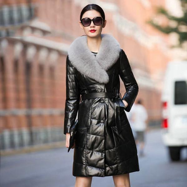 Genuine Leather Jacket Women 100% Real Sheepskin Long Coat Plus Size 6XL 2019 Winter Duck Jacket Women's Real Fox fur Coat L480