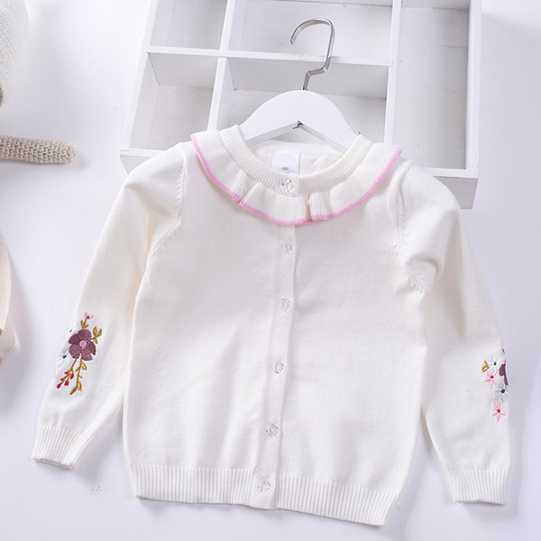 2019 Spring Autumn New Girls princess Sweaters Kids warm Cotton Coat Children cute Embroidery Clothing Baby Knitted cardigan