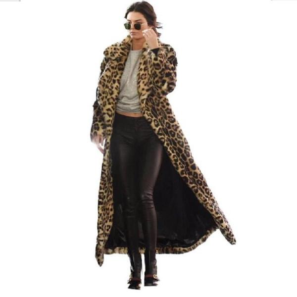 Moda Inverno Casaco Longo De Pele De Leopardo Mulheres Mostram Pontos Soltos Quentes Sexy Casuais Mulheres Casacos de Leopardo Manteau Grosso Casaco De Pele Falso