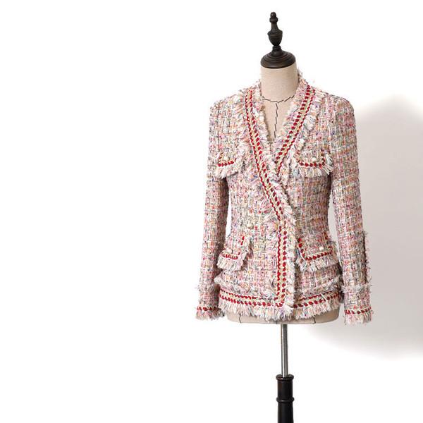 Барокко Дизайнерский пиджак Карманы для женщин Тонкие облегающие цвета Шерстяная куртка из твида с кисточками