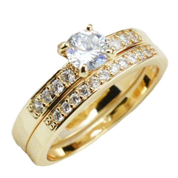 Set 18k Men Zircon Engagement Gold Color Gold Filled Couple Woman