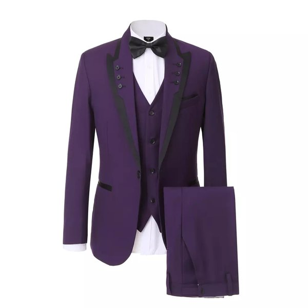 Púrpura 3 Piezas (Chaqueta + Pantalones + Chaleco) Novios trajes El mejor vestido de fiesta de hombre Blazer Slim Fit Hombres Trajes Novio de boda Esmoquin