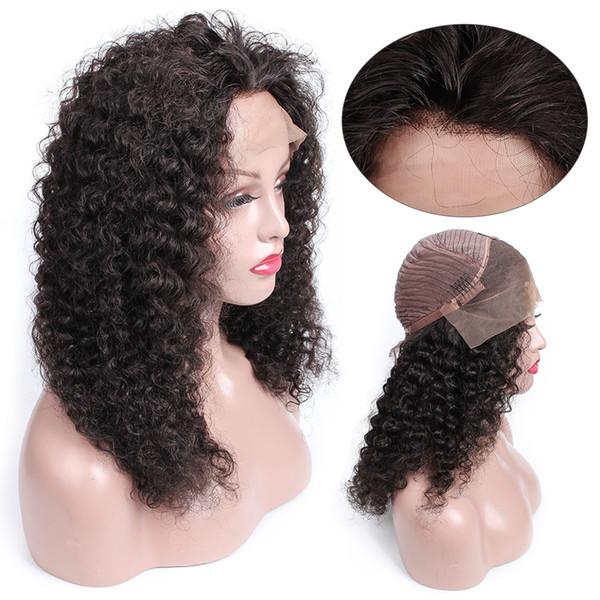 Öpücük Saç Jerry Kıvırcık Ön Koparıp Dantel Ön Virgin İnsan Saç peruk 8-24 inç Tam Dantel Peruk Siyah Kadınlar Için Afro-amerikan