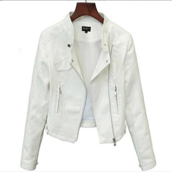 2019 Lika S-XXL New Spring Fashion Colori vivaci Good Quality Ladies Street Basic Donna Breve giacca in pelle PU Accessori GRATIS