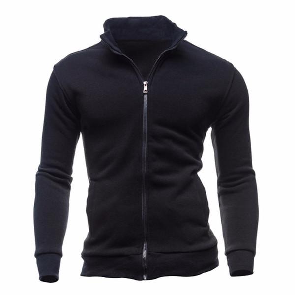 Fashion Stand Collar Zipper Hoodies Men Sweatshirts Autumn Winter Warm Solid Coat Male Hoody Plus Size 3XL