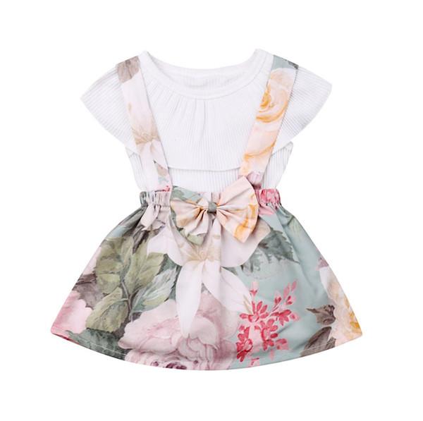 Малыш Детские Baby Girl 0-3Y Летняя одежда Комплекты Белый Romper + Цветочные печати Общий платье 2PCS костюмы