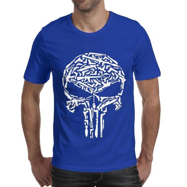 Men design printing punisher art skull gun blue t shirt printing personalised vintage make a champion shirts printed t shirt creator hum