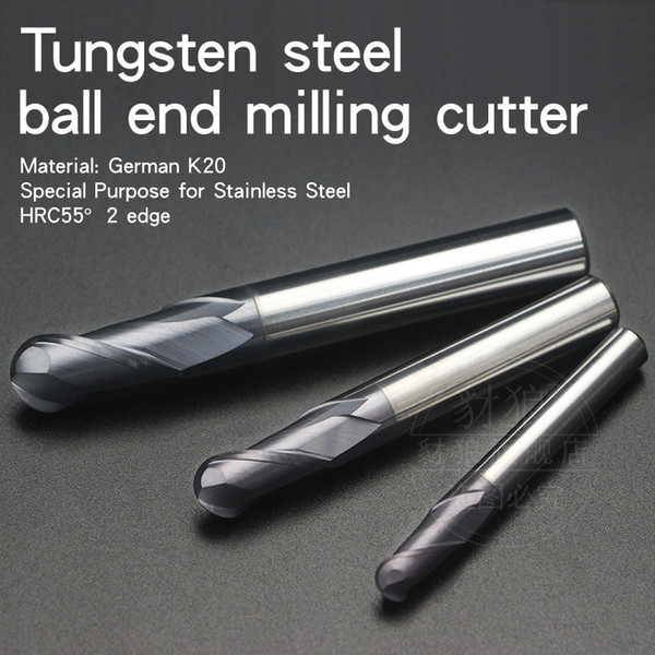 HRC55° Stainless steel Special-purpose Ball end milling cutter 2 edge Coated tungsten steel Cemented carbide Endmill Arc ball milling cutter