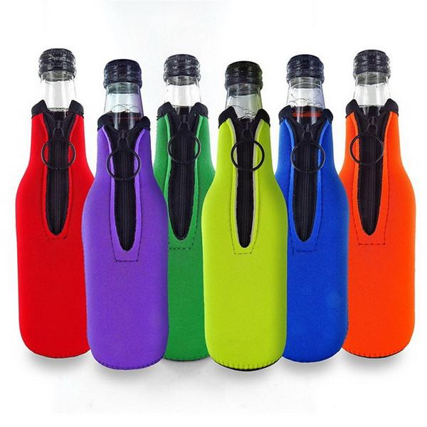 Enfriador de botellas de cerveza con anillo y cremallera aislantes de neopreno plegables para botellas de 12 oz 330 ml Bebidas para fiestas Coolies