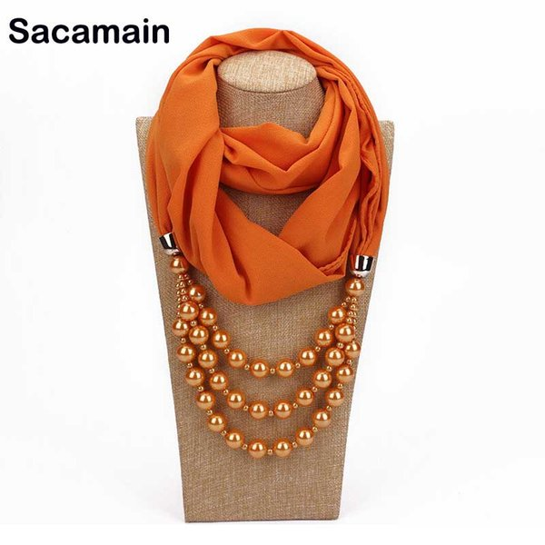 Rasteirinha Womens Fashion Neckerchief Ring Scarf Necklaces Beads Solid Color Jewelry Shawl Dress Necklace Scarf Polyester Hijab