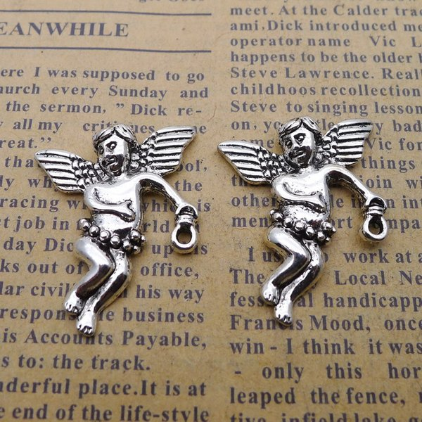 100pcs 22*28mm Antique tibetan Silver plated angel fairy girl charms for bracelet vintage alloy metal pendants diy jewelry making ornament