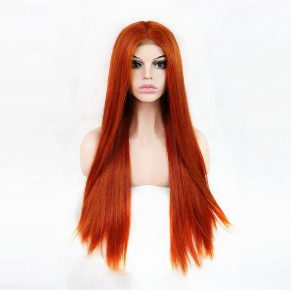 New Style Orange Long Straight Synthetic Lace Front Wigs Middle Part Natural Looking Lace Wig For Fashion Women High Temperature Fiber