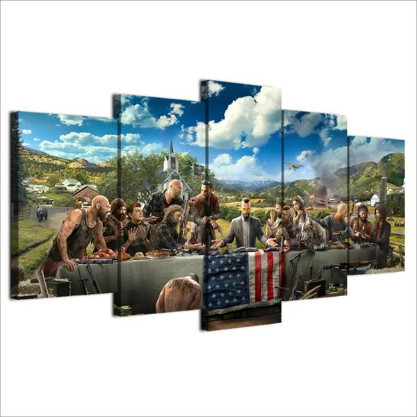 Far Cry 5,5 Pieces Home Decor HD Printed Modern Art Painting on Canvas (Unframed/Framed)