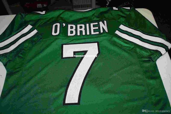 Maglie da calcio da uomo retrò # 7 KEN O'BRIEN CUSTOM HOME MITCHELL NESS maglia da running verde