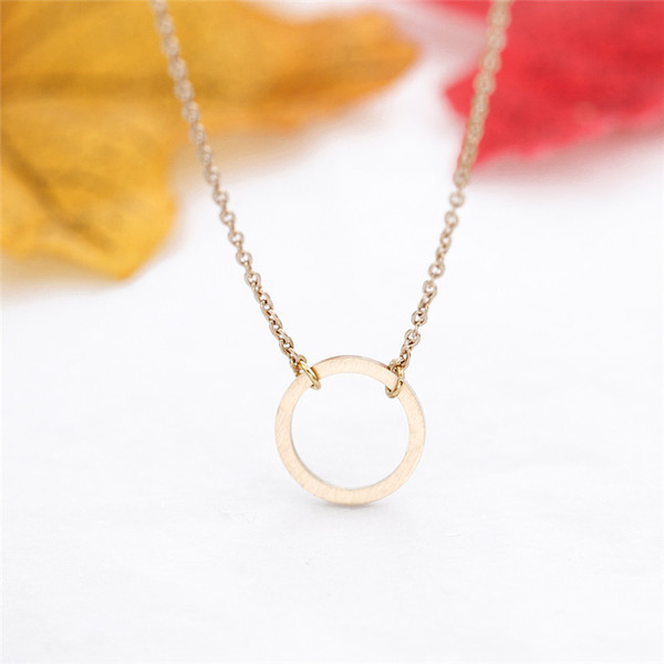 Wholesale Gold Silver Karma Necklace Women Jewelry Eternity Lucky Circle Stainless Steel Chain Best Friend Gift Collier Femme