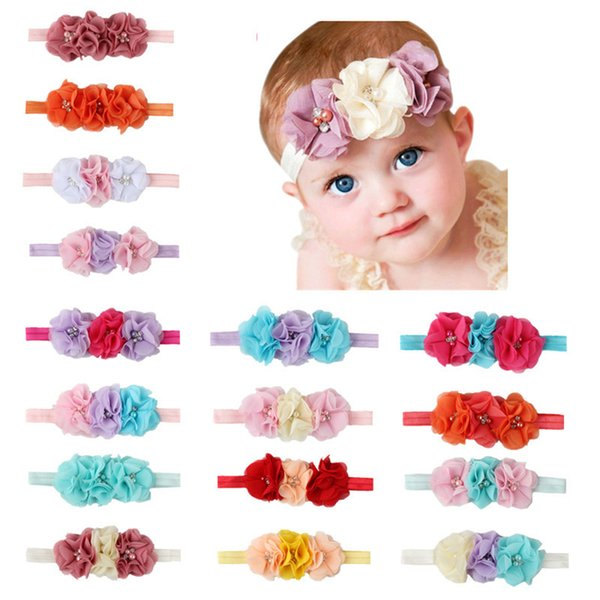 Gril bebê 3 flores faixas de cabelo pérola de Cristal Chiffon conjunto de combinação de flores Elastic Headbands Headwear faixa de cabelo Acessórios Para o Cabelo FJ447