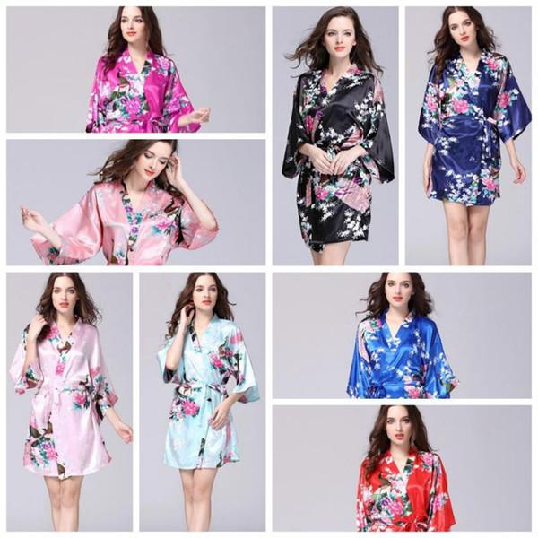 12 цветов сексуальные женские японские шелковые кимоно халат пижамы ночная рубашка пижамы сломанной цветок кимоно нижнее белье домашняя одежда CCA10956 12 шт.