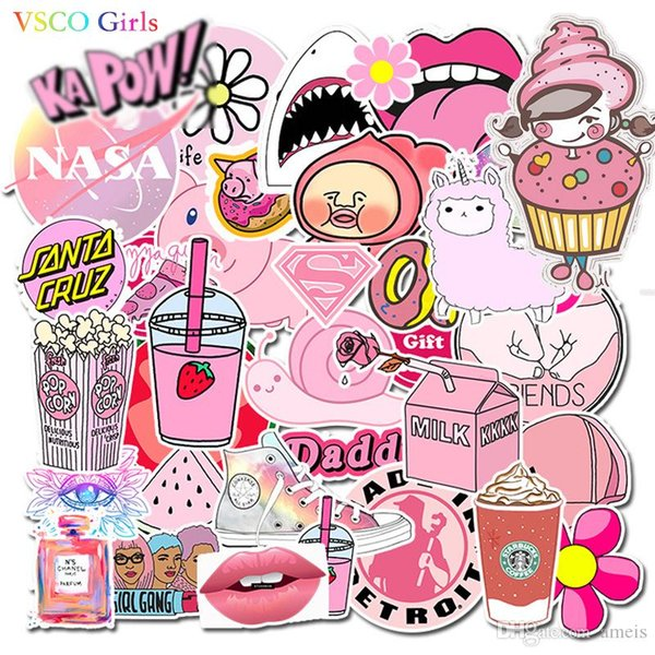 VSCO Girls Stickers Impermeable Pink Car Sticker para nevera Equipaje Moto Car Suitcase Fashion Laptop Sticker 50pcs / 1 Opp bag