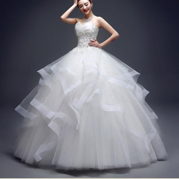 Moda con cuentas Vestidos de novia sin tirantes 2019 Nueva coreana con gradas Organza Dulce novia Princesa Vestido Apliques Vestido de novia