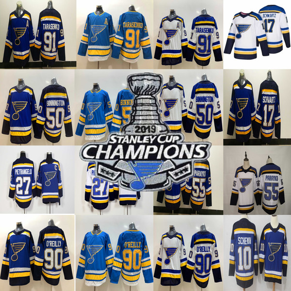top popular 2019 Stanley Cup Champions patch St. Louis Blues 27 Alex Pietrangelo 55 Colton Parayko 90 Ryan O'Reilly 91 Vladimir Tarasenko Hockey Jersey 2019