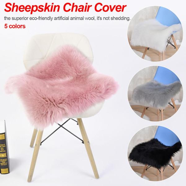 5 cores super macio faux pele de carneiro lavável carpet quente peludo assento pad tapetes macios tapetes de pele do falso para cadeiras de chão sofás almofadas