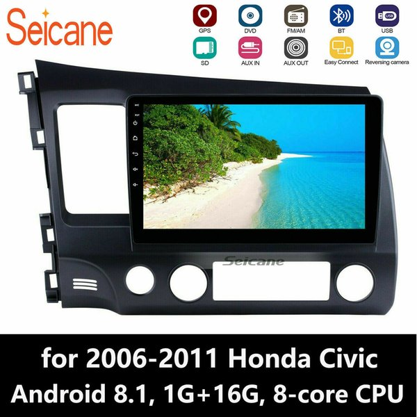 1024*600 HD Touch Screen 10.1 inch Android 8.1 Car Stereo GPS Navigation for 2006-2011 Honda Civic with Bluetooth WIFI AUX USB support 1080P