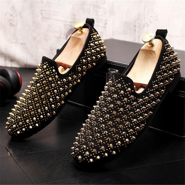 Acheter 2019 Nouveaux Chaussures À Talon Pour Hommes En Daim À Enfiler Des Mocassins Plats À Talons Plats Pour Hommes Avec Rivet 5 # 19E50 De $70.63