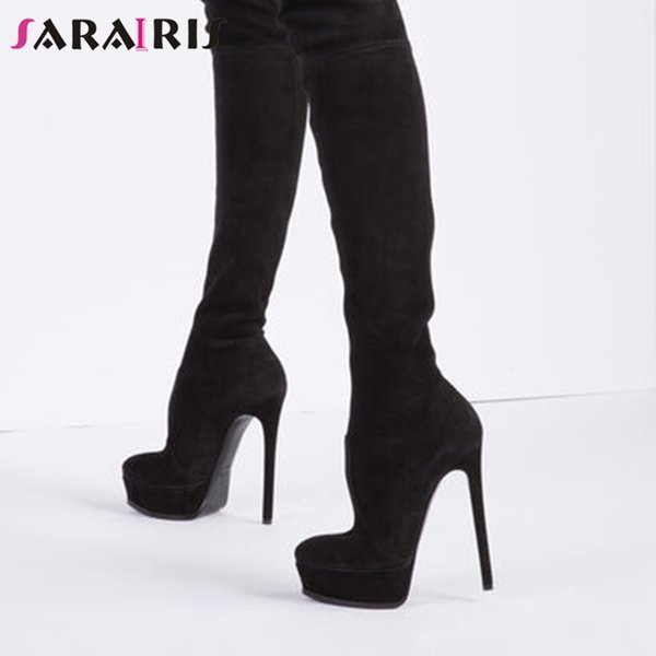SARAIRIS Overknee Stiefel Damenmode Sexy Flock Plattform Round Toe Slip On Dünne High Heels Overknee Stiefel Damen 36-41